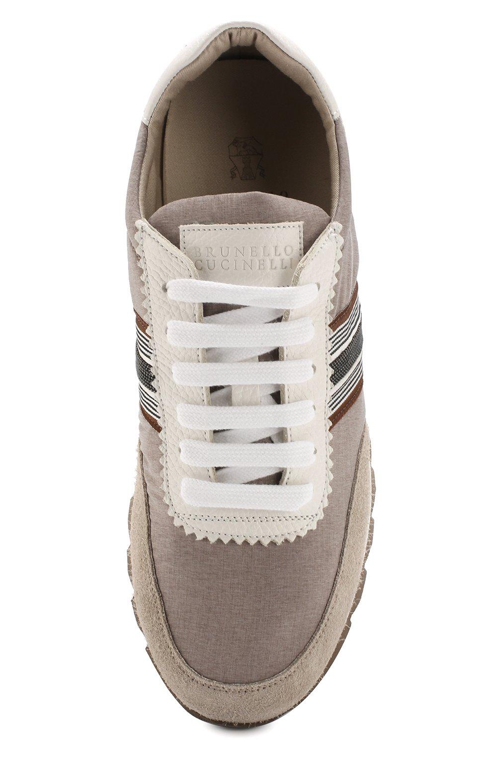 Комбинированные кроссовки Brunello Cucinelli бежевые   Фото №5