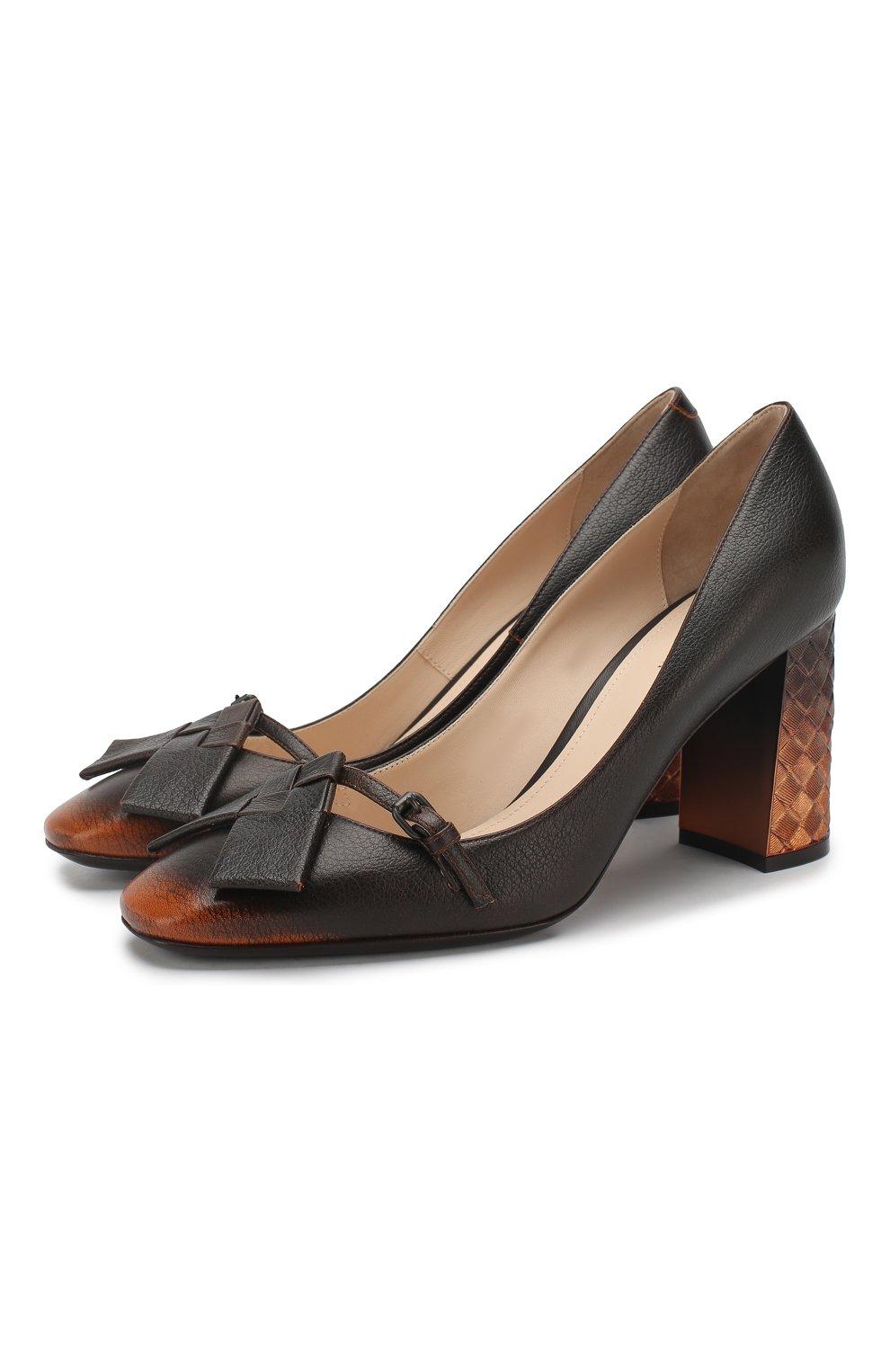 Кожаные туфли Bottega Veneta темно-коричневые | Фото №1