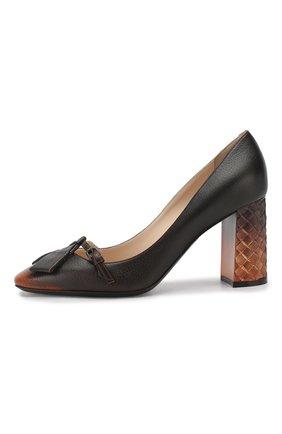 Кожаные туфли Bottega Veneta темно-коричневые | Фото №3