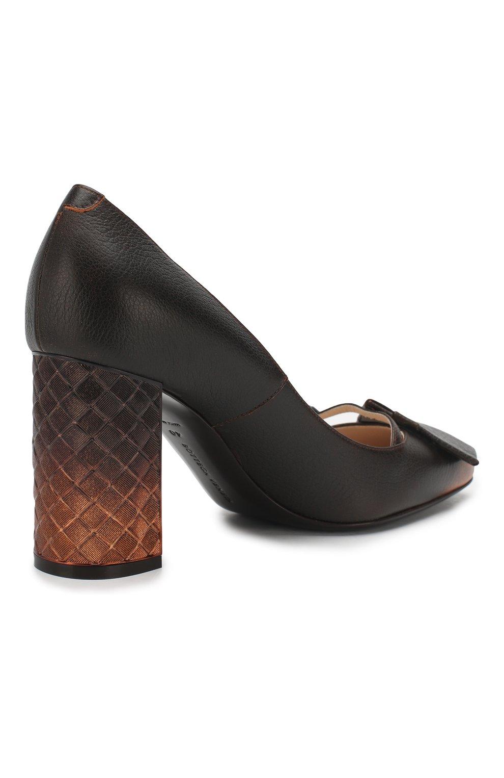 Кожаные туфли Bottega Veneta темно-коричневые | Фото №4
