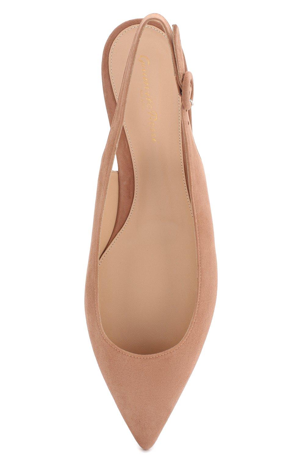 Замшевые балетки Anna Gianvito Rossi бежевые | Фото №5