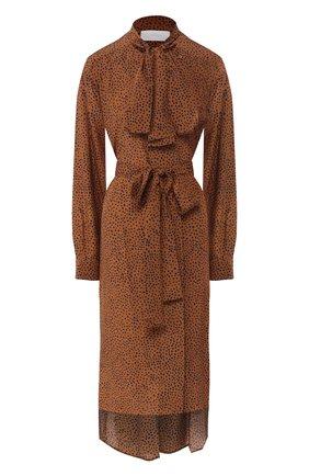 Шелковое платье с поясом   Фото №1