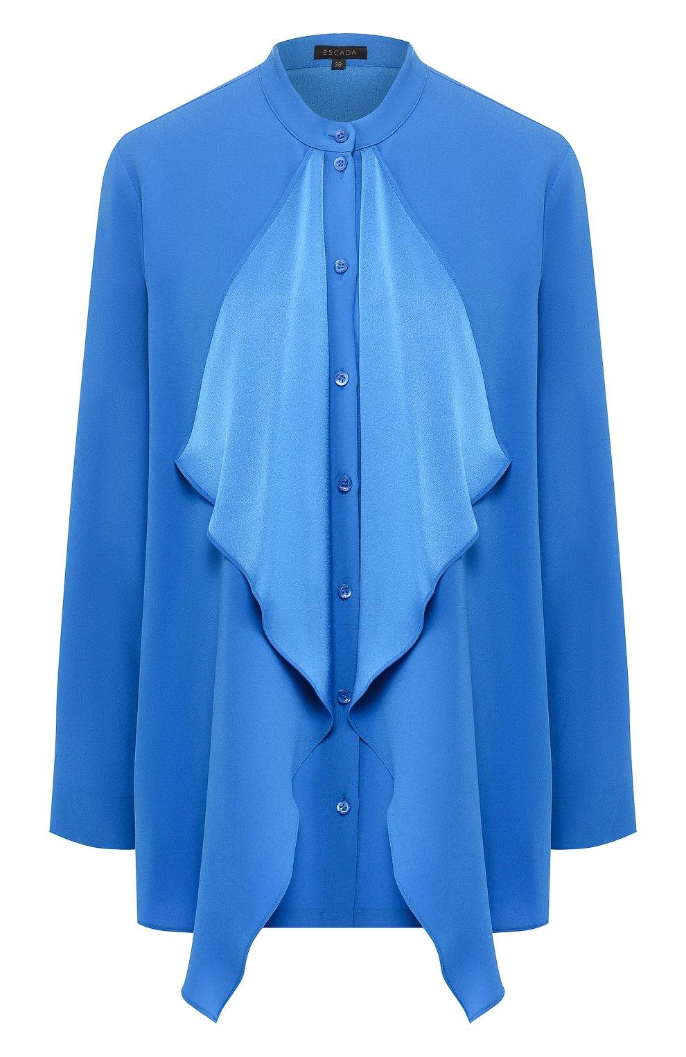 Блузка с оборками Escada синяя | Фото №1