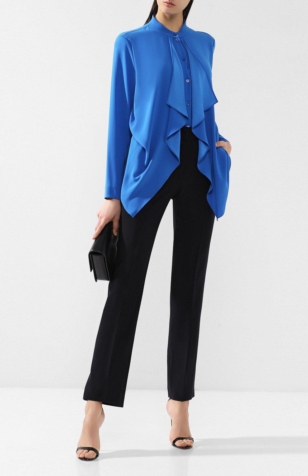 Блузка с оборками Escada синяя | Фото №2