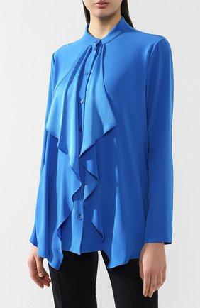 Блузка с оборками Escada синяя | Фото №3