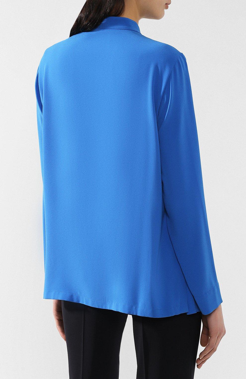 Блузка с оборками Escada синяя | Фото №4