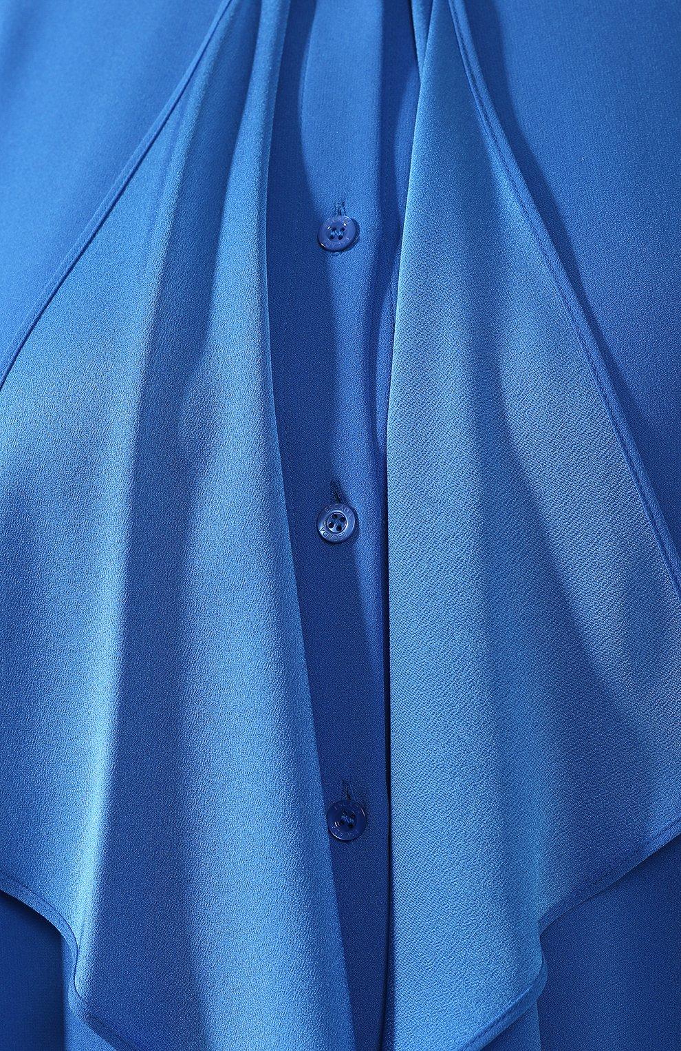 Блузка с оборками Escada синяя | Фото №5