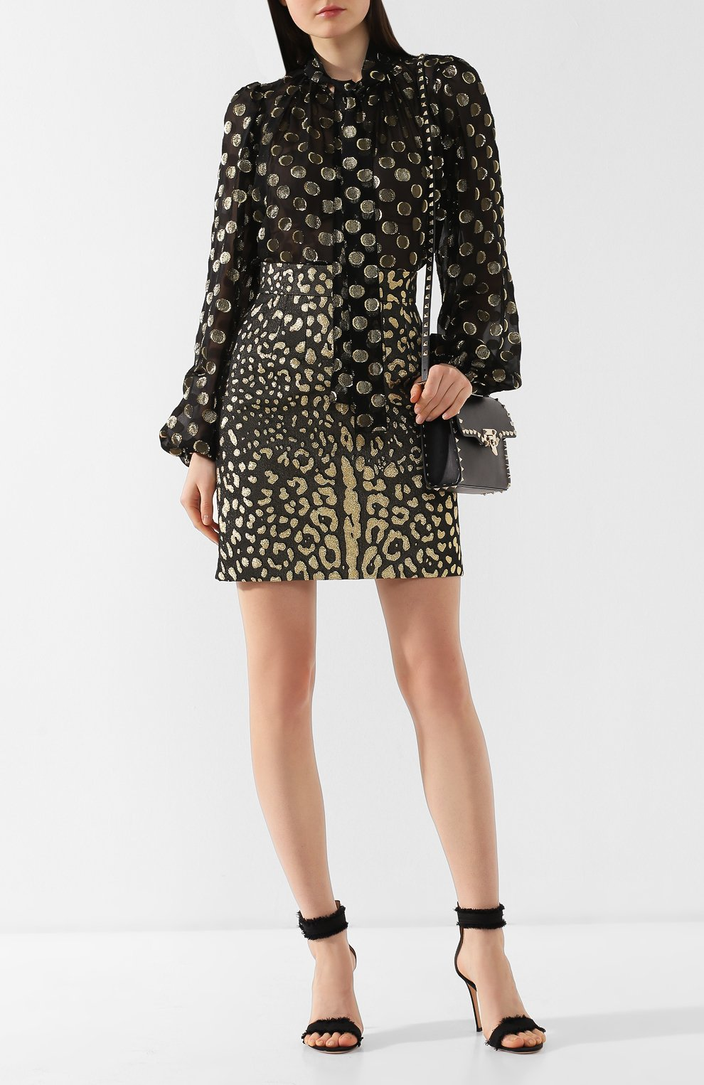 Шелковая блузка Dolce & Gabbana золотая | Фото №2