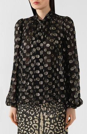 Шелковая блузка Dolce & Gabbana золотая | Фото №3