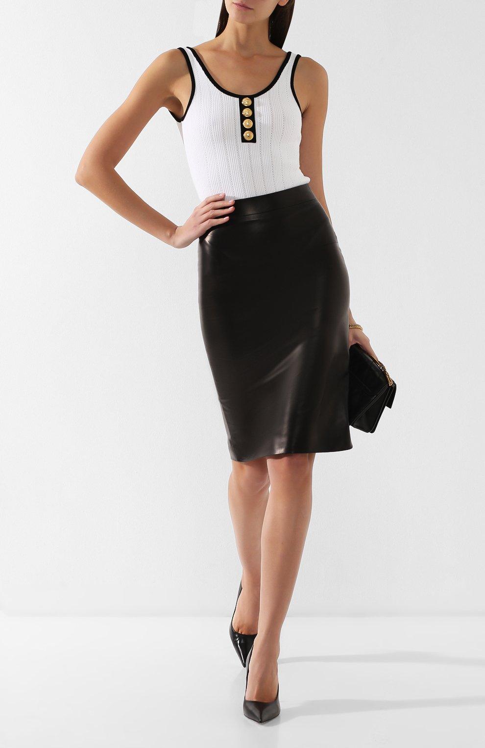 Кожаная юбка-карандаш | Фото №2