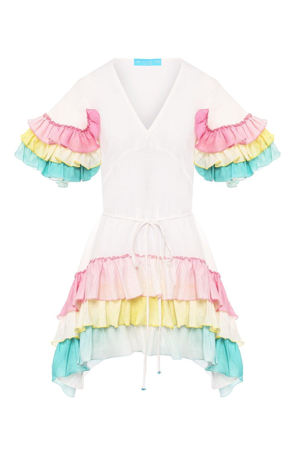 Платье из смеси хлопка и льна A Mere Co белое | Фото №1