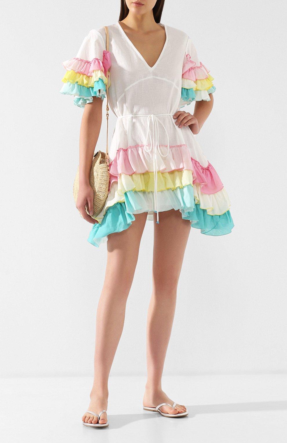 Платье из смеси хлопка и льна A Mere Co белое | Фото №2