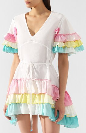 Платье из смеси хлопка и льна A Mere Co белое | Фото №3