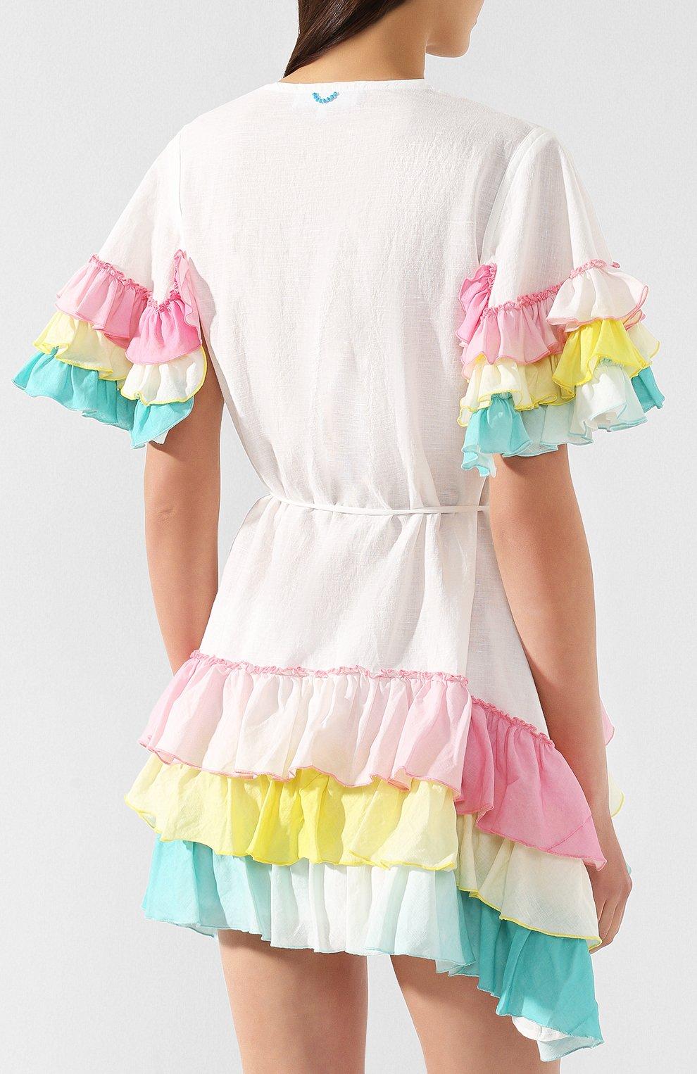 Платье из смеси хлопка и льна A Mere Co белое | Фото №4