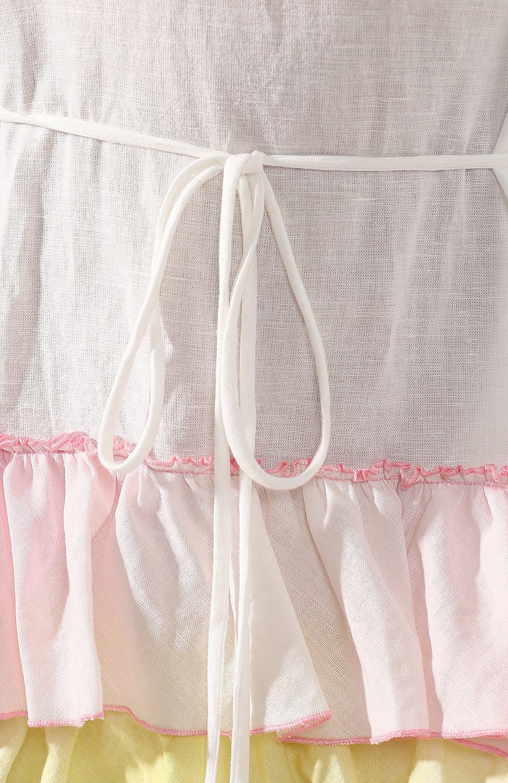 Платье из смеси хлопка и льна A Mere Co белое | Фото №5