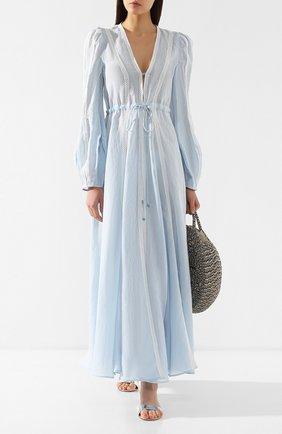 Льняное платье A Mere Co светло-голубое   Фото №2