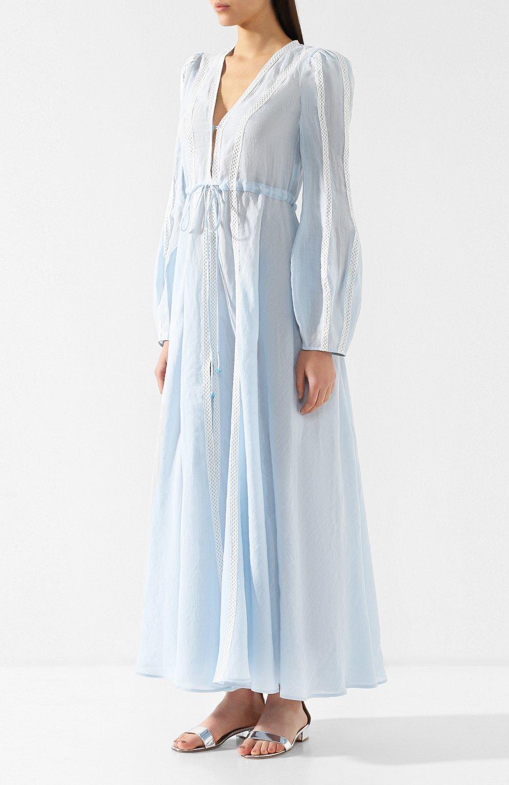 Льняное платье A Mere Co светло-голубое   Фото №3