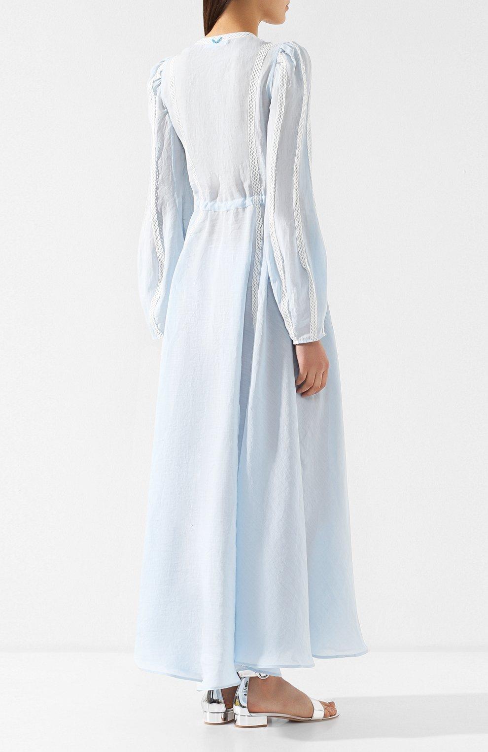 Льняное платье A Mere Co светло-голубое   Фото №4