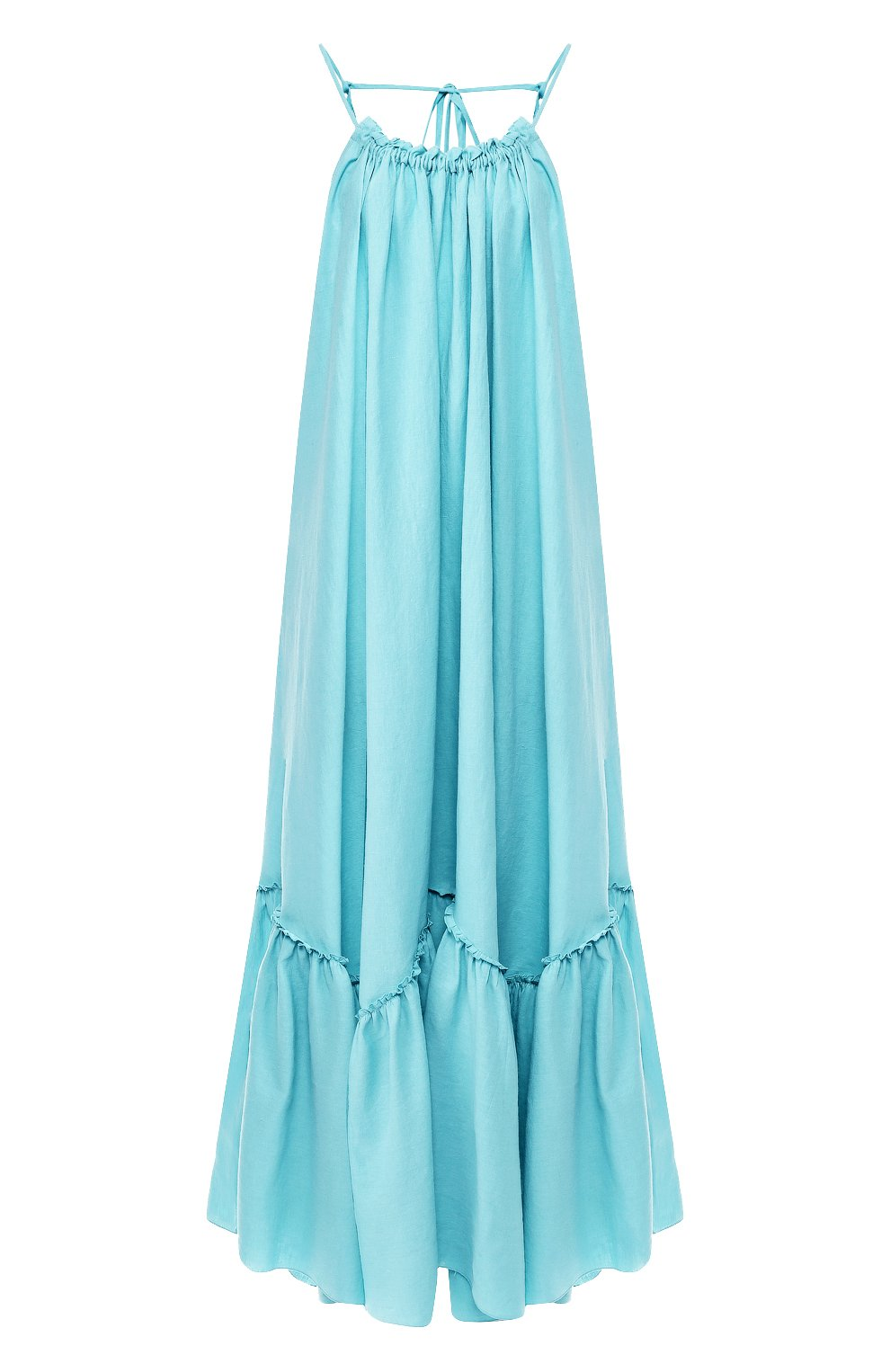 Платье из смеси хлопка и льна A Mere Co бирюзовое | Фото №1