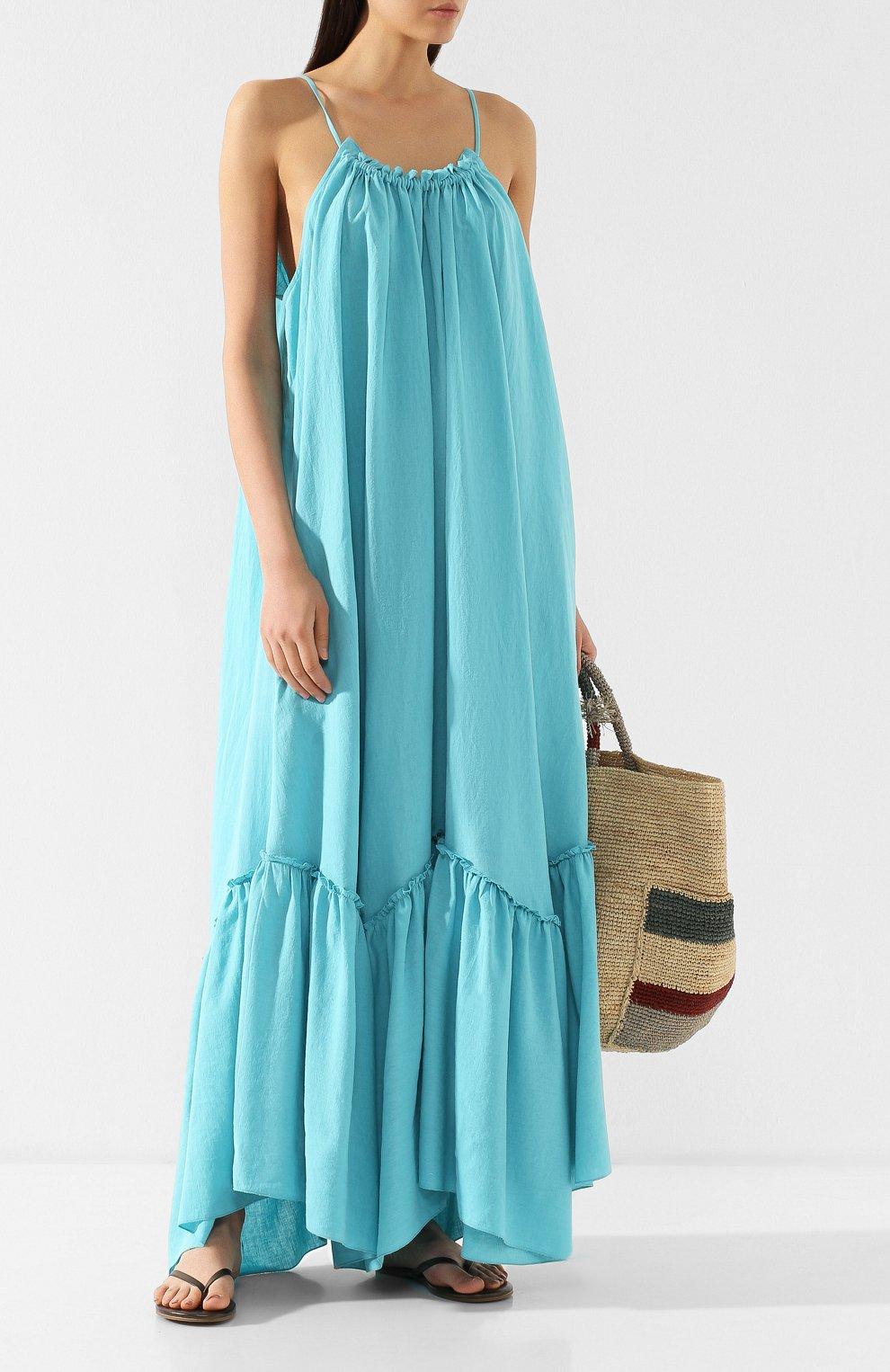 Платье из смеси хлопка и льна A Mere Co бирюзовое | Фото №2