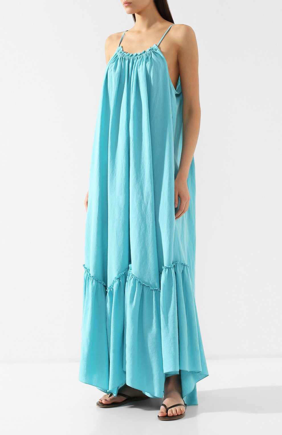 Платье из смеси хлопка и льна A Mere Co бирюзовое | Фото №3