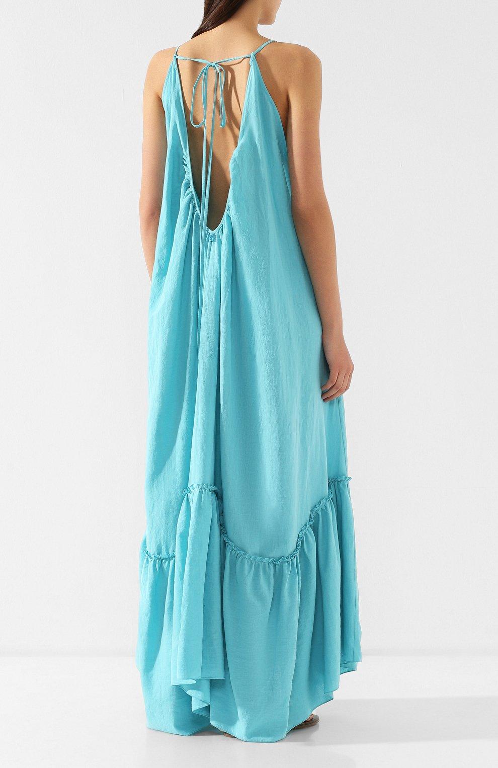 Платье из смеси хлопка и льна A Mere Co бирюзовое | Фото №4
