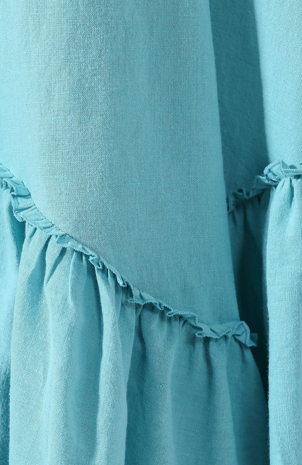 Платье из смеси хлопка и льна A Mere Co бирюзовое | Фото №5