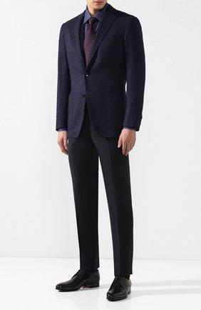 Мужская хлопковая рубашка с воротником кент ZILLI синего цвета, арт. MFQ-10902-46103/RZ01 | Фото 2