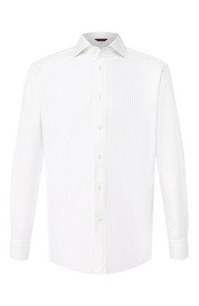 Мужская хлопковая рубашка с воротником кент ZEGNA COUTURE белого цвета, арт. 502031/9NS0RI | Фото 1