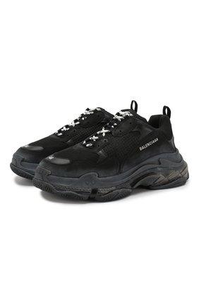 Мужские комбинированные кроссовки triple s BALENCIAGA черного цвета, арт. 541624/W0901 | Фото 1