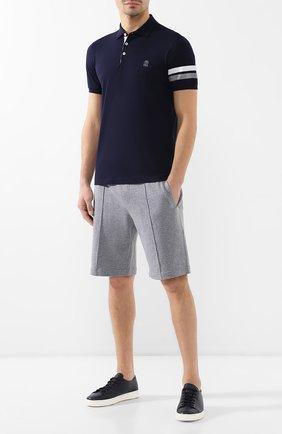 Мужское хлопковое поло BRUNELLO CUCINELLI темно-синего цвета, арт. M0T611305G | Фото 2