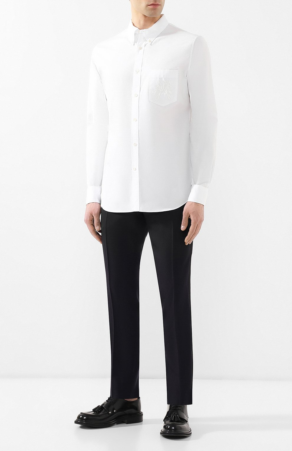 Хлопковая рубашка с воротником button down | Фото №2