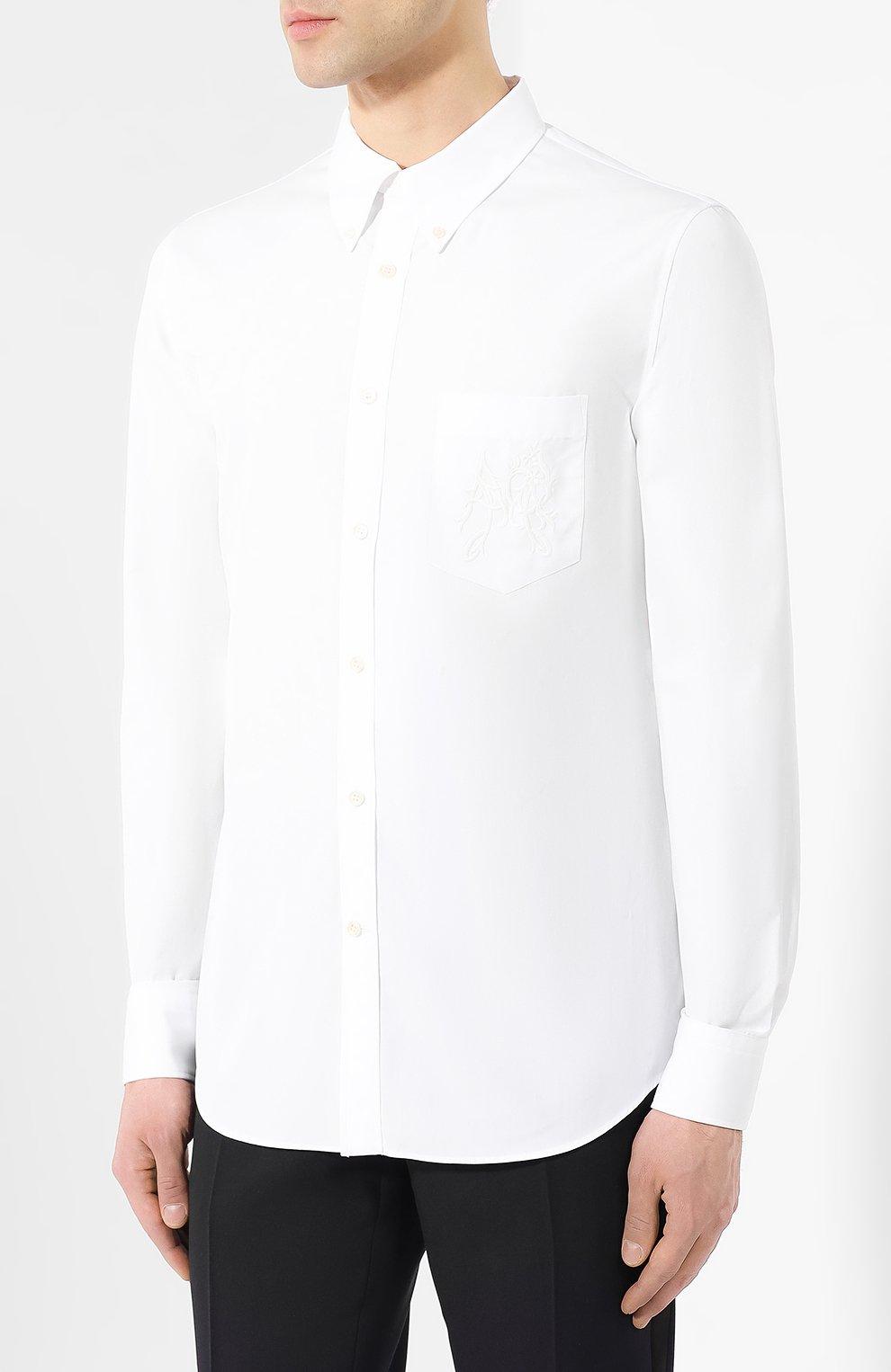 Хлопковая рубашка с воротником button down | Фото №3