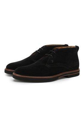 Мужские замшевые ботинки TOD'S черного цвета, арт. XXM53B00D80RE0 | Фото 1