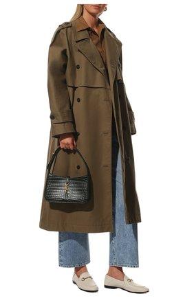 Женские кожаные лоферы brixton GUCCI кремвого цвета, арт. 414998/DLC00 | Фото 2