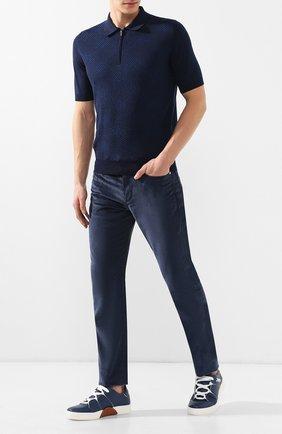 Мужские кожаные кеды tiziano ZEGNA COUTURE синего цвета, арт. A4005X-SWY | Фото 2