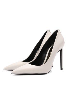Женские кожаные туфли TOM FORD белого цвета, арт. W2325T-SS0 | Фото 1 (Подошва: Плоская; Статус проверки: Проверено, Проверена категория; Материал внутренний: Натуральная кожа; Каблук тип: Шпилька; Каблук высота: Высокий)