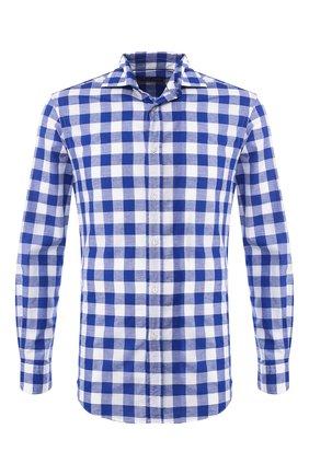 Мужская рубашка из смеси хлопка и льна RALPH LAUREN синего цвета, арт. 790730887 | Фото 1
