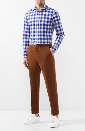 Мужская рубашка из смеси хлопка и льна RALPH LAUREN синего цвета, арт. 790730887 | Фото 2