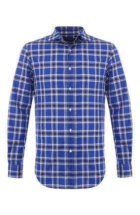 Мужская рубашка из смеси хлопка и льна RALPH LAUREN синего цвета, арт. 790730888 | Фото 1