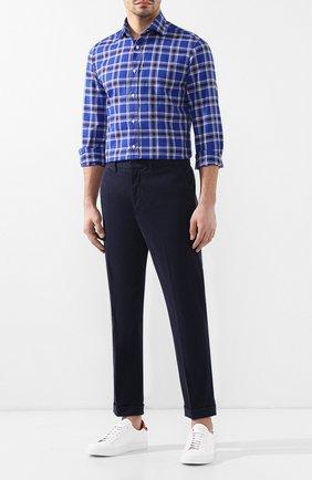 Мужская рубашка из смеси хлопка и льна RALPH LAUREN синего цвета, арт. 790730888 | Фото 2
