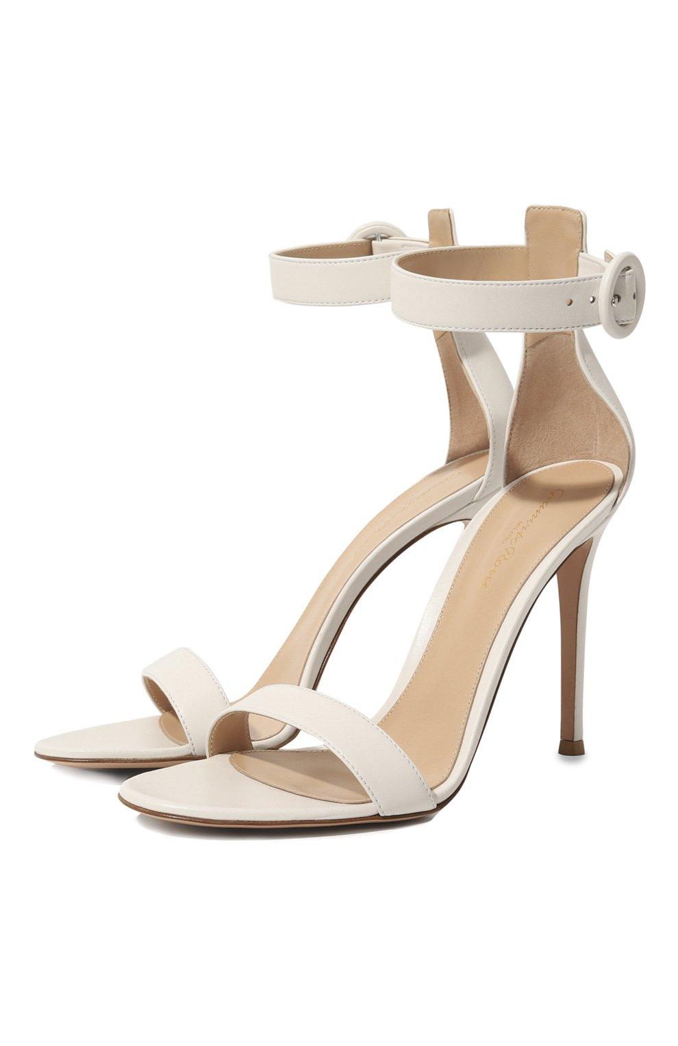 Женские кожаные босоножки portofino 105  GIANVITO ROSSI белого цвета, арт. G61096.15RIC.NAPBIAN | Фото 1
