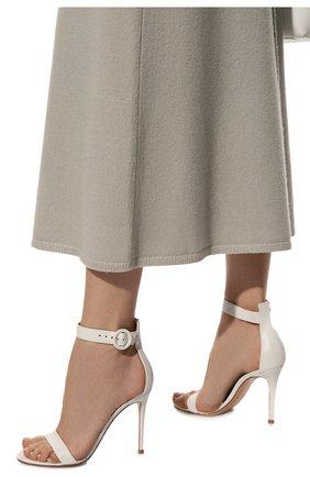 Женские кожаные босоножки portofino 105  GIANVITO ROSSI белого цвета, арт. G61096.15RIC.NAPBIAN | Фото 3