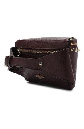 Поясная сумка Valentino Garavani Rockstud Valentino бордовая | Фото №3