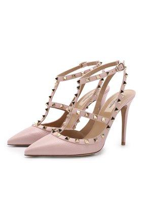 Женская кожаные туфли valentino garavani rockstud VALENTINO светло-розового цвета, арт. RW2S0393/VCE | Фото 1