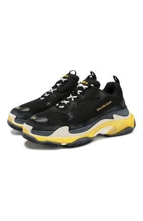 Мужские комбинированные кроссовки triple s BALENCIAGA черного цвета, арт. 534162/W090G | Фото 1