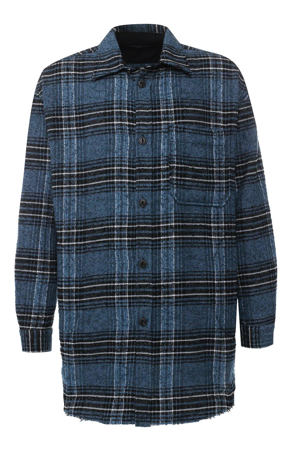 Рубашка из смеси шерсти и хлопка   Фото №1