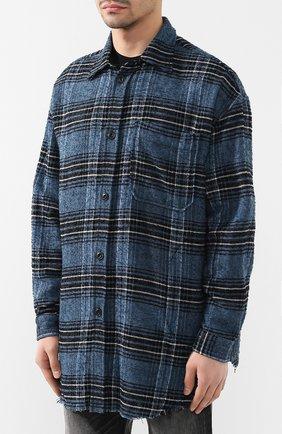 Рубашка из смеси шерсти и хлопка Diesel синяя   Фото №3