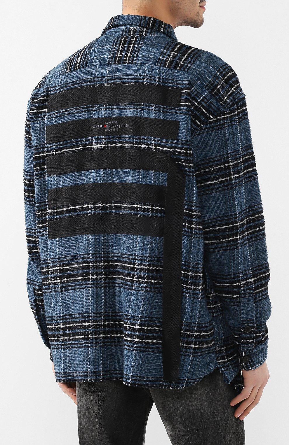 Рубашка из смеси шерсти и хлопка Diesel синяя   Фото №4
