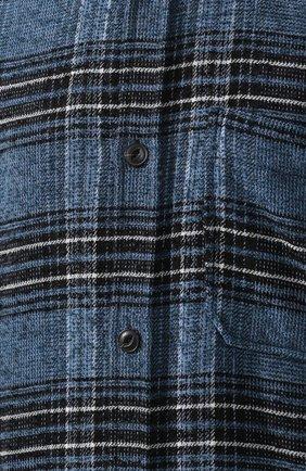 Рубашка из смеси шерсти и хлопка Diesel синяя   Фото №5